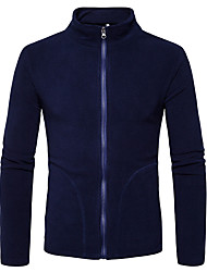 Недорогие -Муж. Спорт Куртка Воротник-стойка Уличный стиль - Однотонный, Хлопок / Длинный рукав