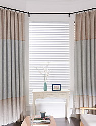 cheap -Curtains Drapes Living Room Color Block Cotton / Polyester Embroidery