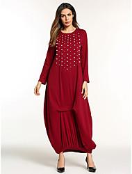 Недорогие -Жен. Классический Богемный Прямое С летящей юбкой Платье - Однотонный, Вышивка Макси