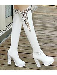 povoljno -Žene Cipele PU Zima Modne čizme Čizme Kockasta potpetica Čizme preko koljena za Kauzalni Obala Crn