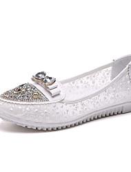 Недорогие -Жен. Обувь Полиуретан Лето Удобная обувь На плокой подошве На плоской подошве Круглый носок Цветы для Для праздника Черный Коричневый
