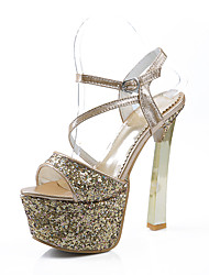 abordables -Mujer Zapatos Lentejuelas Verano Confort Sandalias Tacón Cuadrado Punta abierta Hebilla Dorado / Plata / Rojo / Fiesta y Noche