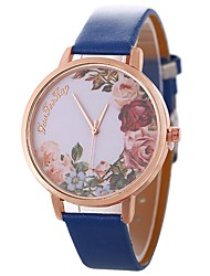 cheap -Women's Wrist Watch Quartz Casual Watch Large Dial PU Band Analog Flower Vintage Black / Blue / Brown - Fuchsia Brown Blue One Year Battery Life