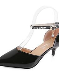 baratos -Mulheres Sapatos Couro Ecológico Verão Plataforma Básica Saltos Salto Agulha Dedo Apontado para Ao ar livre Preto / Cinzento / Vermelho
