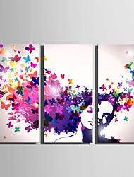 Недорогие -С картинкой Роликовые холсты - Люди Бабочки Modern 3 панели