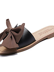 cheap -Women's Shoes PU Summer Comfort Slippers & Flip-Flops Flat Heel Bowknot for Outdoor White / Black