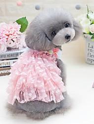 abordables -Perros Gatos Animales Pequeños de Pelo Mascotas Vestidos Ropa para Perro Flor Princesa Lazo Negro Rosa 100% Poliéster Disfraz Para