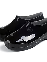 baratos -Mulheres Sapatos Pele PVC Primavera Botas de Chuva Botas Sem Salto Preto / Azul / Vinho