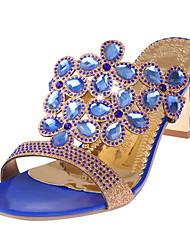 abordables -Femme Chaussures Polyuréthane Eté A Bride Arrière Sandales Talon Bottier Noir / Bleu clair / Bleu royal