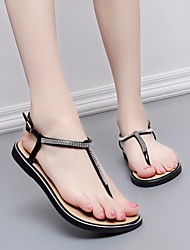 abordables -Femme Chaussures Cuir PVC Eté Confort Sandales Talon Plat pour Noir Gris Rose