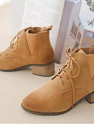 Недорогие -Жен. Обувь Кожа Наступила зима Армейские ботинки Ботинки На толстом каблуке Круглый носок Ботинки для на открытом воздухе Черный /