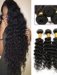 cheap -Indian Hair / Deep Wave Curly Human Hair Weaves 6-Pack Newborn / 100% Virgin / Hot Sale Human Hair Extensions Women's Christmas Gifts /