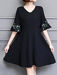 cheap -Women's Simple Sophisticated Sheath Little Black Dress - Geometric Print