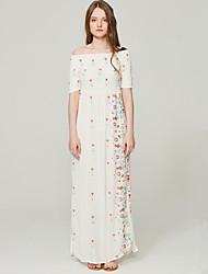 abordables -Mujer Tejido Oriental Recto Vestido - Bordado, A Cuadros Maxi