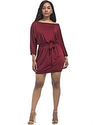 baratos -Mulheres Moda de Rua Reto Vestido - Franzido, Sólido Mini