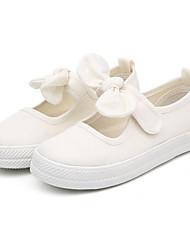 baratos -Para Meninas Sapatos Lona Verão Bailarina Rasos Laço para Ao ar livre Branco Preto Laranja Fúcsia Rosa claro
