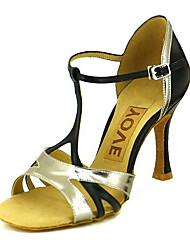 cheap -Women's Latin Shoes / Salsa Shoes Sparkling Glitter / Leatherette Sandal / Heel Buckle / Ribbon Tie Customized Heel Customizable Dance Shoes Light gray / Performance / Professional