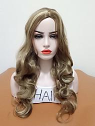 abordables -Pelucas sintéticas Ondulado Corte a capas Pelo sintético Mujer / Pelo reflectante / balayage / Raya en medio Marrón Peluca Mujer Larga Sin Tapa / Sí