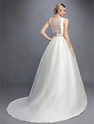 cheap -Princess Bateau Neck Court Train Lace / Satin Made-To-Measure Wedding Dresses with Beading / Lace / Sash / Ribbon by LAN TING BRIDE® / Beautiful Back