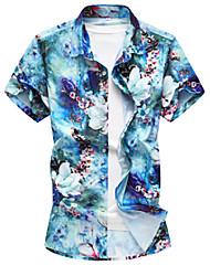 Недорогие -Муж. Рубашка Шинуазери (китайский стиль) Цветочный принт / С короткими рукавами