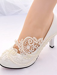cheap -Women's Shoes Lace Spring & Summer Slingback / Basic Pump Wedding Shoes Stiletto Heel Round Toe Rhinestone / Imitation Pearl White