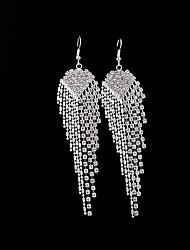 cheap -Women's Crystal Drop Earrings - Tassel Silver For Wedding / Party