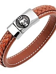 abordables -Bracelet Jonc Bracelets en cuir Bracelet Magnétique Homme Cuir Inoxydable Crâne Tete de Mort Couronne Classique Rétro Bracelet Bijoux Bleu de minuit Café Marron pour Anniversaire Plein Air