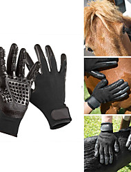 cheap -Dogs Cats Pets Horse Brushes Grooming Gloves Comb Baths Massage Black