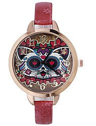 cheap -Women's Wrist Watch Chinese Creative / Casual Watch / Large Dial PU Band Flower / Fashion Black / Blue / Red / One Year