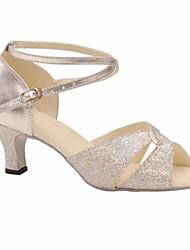 cheap -Women's Latin Shoes Paillette Heel Stiletto Heel Dance Shoes Silver / Performance / Leather / Practice