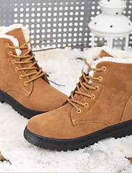 Недорогие -Жен. Обувь Ткань Зима Удобная обувь Ботинки На плоской подошве Круглый носок Желтый / Красный / Тёмно-синий