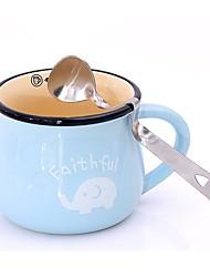 baratos -face de aço inoxidável sorriso colher de café curva pendurado colher de chá