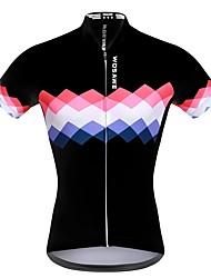 abordables -WOSAWE Femme Manches Courtes Maillot de Cyclisme - Blanc Noir Ecossais / à Carreaux Cyclisme Shirt Maillot Hauts / Top, Séchage rapide Respirable Anti-transpiration, Eté, Polyester