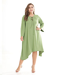 baratos -Mulheres Vintage / Moda de Rua Reto / Bainha Vestido Sólido Médio