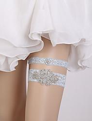 baratos -Renda Estilo vintage Wedding Garter Com Pedrarias / Cristal / Strass Ligas Casamento / Festas & Noite