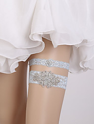 billiga -Spets Vintage Stil Bröllopskläder Med Strass / Kristall / Strass Stenar Strumpeband Bröllop / Fest / afton