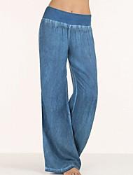 baratos -Mulheres Moda de Rua Perna larga / Jeans Calças - Sólido