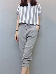 cheap -Women's Going out Slim Shirt - Striped Pant / Summer