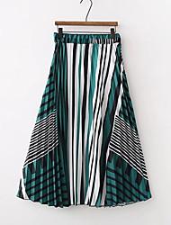 baratos -Mulheres Básico Evasê Saias - Geométrica Pregueado / Estampado Cintura Alta