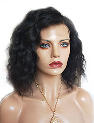 cheap -Remy Human Hair Full Lace Wig Brazilian Hair Curly Short Bob / Side Part 130% Density Natural Hairline / With Bleached Knots Women's Short Human Hair Lace Wig