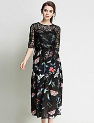 cheap -Women's Beach Boho Slim Chiffon Dress - Floral / Geometric / Plaid Lace / Cut Out / Tassel High Waist