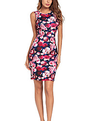 cheap -Women's Holiday Basic / Street chic Skinny Bodycon Dress High Waist Strap / Off Shoulder / Summer / Floral Patterns