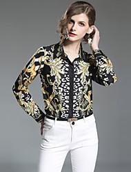 baratos -Mulheres Camisa Social Moda de Rua Estampado, Estampado Cashemere