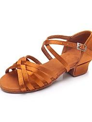 baratos -Para Meninas Sapatos de Dança Latina Seda Salto Salto Baixo Personalizável Sapatos de Dança Castanho Escuro / Interior / Ensaio / Prática