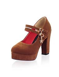 preiswerte -Damen Schuhe PU Frühling Sommer Pumps High Heels Blockabsatz Runde Zehe Schnalle für Draussen Schwarz / Gelb / Rot