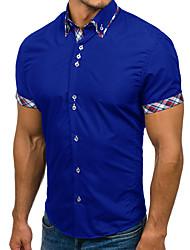 baratos -Homens Camisa Social Básico Patchwork, Estampa Colorida