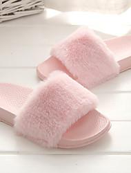baratos -Mulheres Sapatos Tecido Primavera Verão Conforto Chinelos e flip-flops Sem Salto Dedo Aberto Cinzento / Rosa claro / Khaki