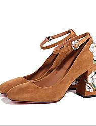 お買い得  -女性用 靴 レザー 夏 コンフォートシューズ ヒール チャンキーヒール ラウンドトウ のために アウトドア ブラック / グレー / イエロー