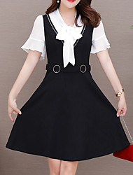 cheap -Women's Basic Flare Sleeve A Line Dress - Color Block Bow / Patchwork / Lace up