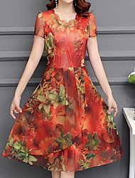 cheap -Women's Sophisticated Street chic Sheath Dress - Floral Beaded Print